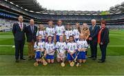 3 September 2017; President of the INTO John Boyle, President of Cumann na mBunscoil Liam McGee, Uachtarán Chumann Lúthchleas Gael Aogán Ó Fearghaíl, President of the Camogie Association Catherine Neary, with the Waterford team, back row, left to right, Laoise Forrest of Ballygunner National School, Ballygunner, Co Waterford, Aisling Sexton of Laragh National School, Stradone, Co Cavan, Kate Feasey of Patrickswell National School, Patrickswell, Co Limerick, Gemma Murray of Dromin National School, Dunleer, Co Louth, Lucy Kinane of Rossmore National School, Cashel, Co Tipperary, referee Katelynn Fitzgerald, from Glenville National School, Glenville, Co Cork, front row, left to right, Sarah O'Neill of Anahorish Primary School, Toomebridge, Co Antrim, Lily Hayes Nally of Ballintotas National School, Castlemarty, Co Cork, Sadhbh Buttle of Ballyellis National School, Gorey, Co Wexford, Emma Nesbitt of Scoil Chualann, Bray, Co Wicklow, Caitlin Earl of Old Leighlin National School, Old Leighlin, Co Carlow, ahead of the GAA Hurling All-Ireland Senior Championship Final match between Galway and Waterford at Croke Park in Dublin. Photo by Daire Brennan/Sportsfile