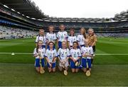 3 September 2017; The Waterford team, back row, left to right, Laoise Forrest of Ballygunner National School, Ballygunner, Co Waterford, Aisling Sexton of Laragh National School, Stradone, Co Cavan, Kate Feasey of Patrickswell National School, Patrickswell, Co Limerick, Gemma Murray of Dromin National School, Dunleer, Co Louth, Lucy Kinane of Rossmore National School, Cashel, Co Tipperary, referee Katelynn Fitzgerald, from Glenville National School, Glenville, Co Cork, front row, left to right, Sarah O'Neill of Anahorish Primary School, Toomebridge, Co Antrim, Lily Hayes Nally of Ballintotas National School, Castlemarty, Co Cork, Sadhbh Buttle of Ballyellis National School, Gorey, Co Wexford, Emma Nesbitt of Scoil Chualann, Bray, Co Wicklow, Caitlin Earl of Old Leighlin National School, Old Leighlin, Co Carlow, ahead of the GAA Hurling All-Ireland Senior Championship Final match between Galway and Waterford at Croke Park in Dublin. Photo by Daire Brennan/Sportsfile
