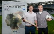 7 September 2017; Dr. Brendan Murphy, left, Tipperary Senior Hurling Team Doctor and former Offaly Senior Hurler, and Oisín McConville, former All-Ireland winning footballer with Armagh, at the launch of the 2nd National Concussion Symposium, which will be hosted by Bon Secours Health System and UPMC in association with the GAA which will be held in Croke Park on Saturday October 7th. Pictured at Croke Park in Dublin. Photo by Cody Glenn/Sportsfile