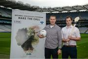 7 September 2017; Oisín McConville, left, former All-Ireland winning footballer with Armagh, and Dr. Brendan Murphy, Tipperary Senior Hurling Team Doctor and former Offaly Senior Hurler, at the launch of the 2nd National Concussion Symposium, which will be hosted by Bon Secours Health System and UPMC in association with the GAA which will be held in Croke Park on Saturday October 7th. Pictured at Croke Park in Dublin. Photo by Cody Glenn/Sportsfile
