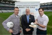 7 September 2017; Oisín McConville, former All-Ireland winning footballer with Armagh, left, with Uachtarán Chumann Lúthchleas Gael Aogán Ó Fearghaíl, centre, and Dr. Brendan Murphy, Tipperary Senior Hurling Team Doctor and former Offaly Senior Hurler, at the launch of the 2nd National Concussion Symposium, which will be hosted by Bon Secours Health System and UPMC in association with the GAA which will be held in Croke Park on Saturday October 7th. Pictured at Croke Park in Dublin. Photo by Cody Glenn/Sportsfile