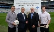 7 September 2017; Oisín McConville, former All-Ireland winning footballer with Armagh, from left, with Bill Maher, CEO Bon Secours Health System, Uachtarán Chumann Lúthchleas Gael Aogán Ó Fearghaíl, and Dr. Brendan Murphy, Tipperary Senior Hurling Team Doctor and former Offaly Senior Hurler, at the launch of the 2nd National Concussion Symposium, which will be hosted by Bon Secours Health System and UPMC in association with the GAA which will be held in Croke Park on Saturday October 7th. Pictured at Croke Park in Dublin. Photo by Cody Glenn/Sportsfile