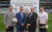 7 September 2017; Oisín McConville,  former All-Ireland winning footballer with Armagh, from left, David Beirne, VP UPMC International, Uachtarán Chumann Lúthchleas Gael Aogán Ó Fearghaíl, and Dr. Brendan Murphy, Tipperary Senior Hurling Team Doctor and former Offaly Senior Hurler, at the launch of the 2nd National Concussion Symposium, which will be hosted by Bon Secours Health System and UPMC in association with the GAA which will be held in Croke Park on Saturday October 7th. Pictured at Croke Park in Dublin. Photo by Cody Glenn/Sportsfile