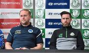 7 September 2017; Shamrock Rovers manager Stephen Bradley, right, and Bluebell United manager Andy Noonan during a press conference at Tallaght Stadium in Tallaght, Dublin. Photo by Matt Browne/Sportsfile