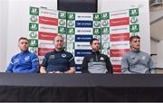 7 September 2017; Shamrock Rovers manager Stephen Bradley, second from right, Bluebell United manager Andy Noonan, second from left, with players Tony Griffiths, left, of Bluebell United and Lee Grace of Shamrock Rovers during a press conference at Tallaght Stadium in Tallaght, Dublin. Photo by Matt Browne/Sportsfile