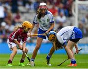 3 September 2017; Lucy Kinane of Rossmore National School, Cashel, Co Tipperary, representing Waterford, in action against Andrea Fallon of Runnamoate National School, Ballinaheglish, Co Roscommon,  representing Galway, during the INTO Cumann na mBunscol GAA Respect Exhibition Go Games at Galway v Waterford - GAA Hurling All-Ireland Senior Championship Final at Croke Park in Dublin. Photo by Sam Barnes/Sportsfile