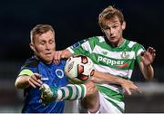 8 September 2017; Cameron King of Shamrock Rovers in action against Anthony Griffiths of Bluebell United during the Irish Daily Mail FAI Cup Quarter-Final match between Bluebell United and Shamrock Rovers at Tallaght Stadium in Tallaght, Dublin. Photo by Matt Browne/Sportsfile