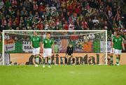 14 June 2012; Dejected Republic of Ireland players, from left to right, John O'Shea, Damien Duff, Shay Given, Richard Dunne, and Keith Andrews after David Silva scored Spain's second goal of the game on forty nine minutes. EURO2012, Group C, Spain v Republic of Ireland, Arena Gdansk, Gdansk, Poland. Picture credit: Stephen McCarthy / SPORTSFILE