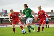 16 June 2012; Aine O'Gorman, Republic of Ireland, in action against Michelle Green, left, and Sophie Ingle, Wales. Women's European Championship Qualifier, Republic of Ireland v Wales, Turner's Cross, Cork. Picture credit: Diarmuid Greene / SPORTSFILE