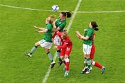 16 June 2012; Louise Quinn, supported by Denise O'Sullivan, left, and Shannon Smyth, Republic of Ireland, in action against Hannah Keryakoplis, Wales. Women's European Championship Qualifier, Republic of Ireland v Wales, Turner's Cross, Cork. Picture credit: Diarmuid Greene / SPORTSFILE