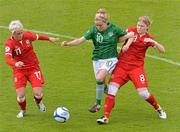 16 June 2012; Denise O'Sullivan, Republic of Ireland, in action against Jessica Fishlock, left, and Michelle Green, Wales. Women's European Championship Qualifier, Republic of Ireland v Wales, Turner's Cross, Cork. Picture credit: Diarmuid Greene / SPORTSFILE