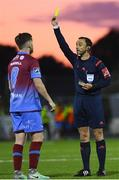 8 September 2017; Sean Russell of Drogheda United receives a yellow card from referee Neil Doyle during the Irish Daily Mail FAI Cup Quarter-Final match between Dundalk and Drogheda United at Oriel Park in Dundalk, Co Louth. Photo by Stephen McCarthy/Sportsfile
