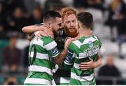 8 September 2017; Ryan Connolly of Shamrock Rovers is congratulated by his team-mates, from left, Brandon Miele, Michael O'Connor and Trevor Clarke after scoring his side's goal during the Irish Daily Mail FAI Cup Quarter-Final match between Bluebell United and Shamrock Rovers at Tallaght Stadium in Tallaght, Dublin. Photo by Matt Browne/Sportsfile