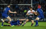 8 September 2017; Jarrod Evans of Cardiff is tackled by Josh van der Flier, right, and Ross Byrne of Leinster during the Guinness PRO14 Round 2 match between Leinster and Cardiff Blues at the RDS Arena in Dublin. Photo by Ramsey Cardy/Sportsfile