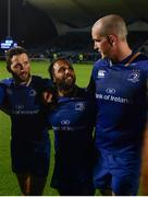 8 September 2017; Leinster's Devin Toner, right, speaks to his teammates Barry Daly, left, and Isa Nacewa  following his 200th club cap during the Guinness PRO14 Round 2 match between Leinster and Cardiff Blues at the RDS Arena in Dublin. Photo by Ramsey Cardy/Sportsfile
