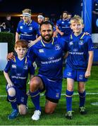 8 September 2017; Matchday mascots Alex Ryan, left, from Rathmines, Dublin and Jack Ritchie, from Clontarf, Dublin, with captain Isa Nacewa ahead of the Guinness PRO14 Round 2 match between Leinster and Cardiff Blues at the RDS Arena in Dublin. Photo by Brendan Moran/Sportsfile