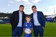 8 September 2017; Matchday mascot 11 year old Ritchie from Clontarf, Dublin, with Leinster players Jamie Heaslip and Garry Ringrose at the Guinness PRO14 Round 2 match between Leinster and Cardiff Blues at the RDS Arena in Dublin. Photo by Ramsey Cardy/Sportsfile