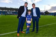 8 September 2017; Matchday mascot 10 year old Alex Ryan from Rathmines, Dublin, with Leinster players Jamie Heaslip and Garry Ringrose at the Guinness PRO14 Round 2 match between Leinster and Cardiff Blues at the RDS Arena in Dublin. Photo by Ramsey Cardy/Sportsfile