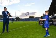 8 September 2017; Matchday mascot 10 year old Alex Ryan from Rathmines, Dublin, with Garry Ringrose at the Guinness PRO14 Round 2 match between Leinster and Cardiff Blues at the RDS Arena in Dublin. Photo by Ramsey Cardy/Sportsfile