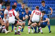 9 September 2017; Reuben Pim of Leinster in action against Michael O'Neill (15) and Stewart Moore (13) of Ulster during the U19 Interprovincial Series match between Leinster and Ulster at Donnybrook Stadium in Dublin. Photo by Cody Glenn/Sportsfile