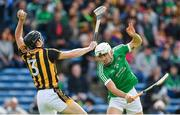 9 September 2017; Conor Delaney of Kilkenny in action against Aaron Gillane of Limerick during the Bord Gáis Energy GAA Hurling All-Ireland U21 Championship Final match between Kilkenny and Limerick at Semple Stadium in Thurles, Co Tipperary. Photo by Brendan Moran/Sportsfile