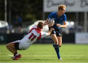 9 September 2017; Adam LaGure of Leinster is tackled by Jonny Hunter of Ulster during the U19 Interprovincial Series match between Leinster and Ulster at Donnybrook Stadium in Dublin. Photo by Cody Glenn/Sportsfile
