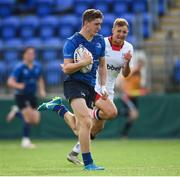 9 September 2017;  Cormac Foley of Leinster on his way to scoring his side's second try during the U19 Interprovincial Series match between Leinster and Ulster at Donnybrook Stadium in Dublin. Photo by Cody Glenn/Sportsfile