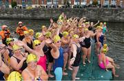 9 September 2017; Swimmers sing Molly Malone ahead of competing in the Jones Engineering 98th Dublin City Liffey Swim organised by Leinster Open Sea and supported by Jones Engineering, Dublin City Council and Swim Ireland. Photo by Sam Barnes/Sportsfile