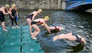 9 September 2017; Swimmers enter the water ahead of competing in the Jones Engineering 98th Dublin City Liffey Swim organised by Leinster Open Sea and supported by Jones Engineering, Dublin City Council and Swim Ireland. Photo by Sam Barnes/Sportsfile