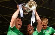 9 September 2017; Limerick players, from left, Peter Casey, Darragh Fanning and Sean Finn celebrate with The James Nowlan Cup after the Bord Gáis Energy GAA Hurling All-Ireland U21 Championship Final match between Kilkenny and Limerick at Semple Stadium in Thurles, Co Tipperary. Photo by Piaras Ó Mídheach/Sportsfile
