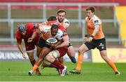 9 September 2017; Sergeal Petersen of Cheetahs is tackled by Duncan Williams, left, and Sean O'Connor of Munster during the Guinness PRO14 Round 2 match between Munster and Cheetahs at Thomond Park in Limerick. Photo by Diarmuid Greene/Sportsfile
