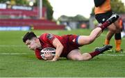 9 September 2017; Alex Wootton of Munster goes over before scoring his side's third try during the Guinness PRO14 Round 2 match between Munster and Cheetahs at Thomond Park in Limerick. Photo by Diarmuid Greene/Sportsfile