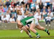 17 June 2012; Alan Mulhall, Offaly, is fouled by Tomás O'Connor, Kildare. Leinster GAA Football Senior Championship Quarter-Final, Offaly v Kildare, O'Moore Park, Portlaoise, Co. Laois. Picture credit: Barry Cregg / SPORTSFILE