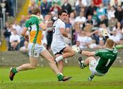 17 June 2012; Alan Mulhall, Offaly, saves the shot from Mikey Conway, Kildare. Leinster GAA Football Senior Championship Quarter-Final, Offaly v Kildare, O'Moore Park, Portlaoise, Co. Laois. Picture credit: Barry Cregg / SPORTSFILE