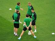 17 June 2012; Republic of Ireland players, clockwise from top left, Stephen Hunt, Damien Duff, who will be captain when he wins his 100th cap against Italy, Robbie Keane, Keith Andrews and Richard Dunne during squad training ahead of their UEFA EURO 2012, Group C, game against Italy on Monday. Republic of Ireland EURO2012 Squad Training, Municipal Stadium Poznan, Poznan, Poland. Picture credit: Pat Murphy / SPORTSFILE