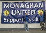 18 June 2012; Monaghan Utd. Supporters Club chairman Gerry Campbell, left, and Monaghan Utd. fan Kevin Carroll pictured at the Gortakeegan grounds, home of Monaghan United F.C. Monaghan Town, Monaghan. Picture credit: Philip Fitzpatrick / SPORTSFILE