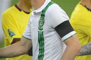 18 June 2012; A general view of the black armband worn by the Republic of Ireland players, in remembrance of the Loughlinisland Massacre, which took place on June 18th 1994. EURO2012, Group C, Republic of Ireland v Italy, Municipal Stadium Poznan, Poznan, Poland. Picture credit: Brendan Moran / SPORTSFILE