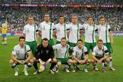 18 June 2012; The Republic of Ireland team, back row from left, Glenn Whelan, John O'Shea, Stephen Ward, Richard Dunne, Keith Andrews and Kevin Doyle. Front row, from left to right, Sean St. Ledger, Shay Given, captain Damien Duff, Robbie Keane and Aiden McGeady. EURO2012, Group C, Republic of Ireland v Italy, Municipal Stadium Poznan, Poznan, Poland. Picture credit: David Maher / SPORTSFILE