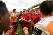 9 September 2017; Niall Scannell, Rhys Marshall and John Ryan of Munster are applauded off the pitch by Cheetahs players after the Guinness PRO14 Round 2 match between Munster and Cheetahs at Thomond Park in Limerick. Photo by Diarmuid Greene/Sportsfile