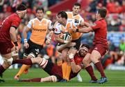 9 September 2017; Francois Venter of Cheetahs is tackled by Jean Kleyn and Ian Keatley of Munster during the Guinness PRO14 Round 2 match between Munster and Cheetahs at Thomond Park in Limerick. Photo by Diarmuid Greene/Sportsfile