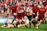 9 September 2017; Ian Keatley of Munster is tackled by Reniel Hugo of Cheetahs during the Guinness PRO14 Round 2 match between Munster and Cheetahs at Thomond Park in Limerick. Photo by Diarmuid Greene/Sportsfile