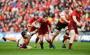 9 September 2017; Ian Keatley of Munster, supported by team-mate Chris Farrell, is tackled by Rynier Bernardo, left, and Reniel Hugo of Cheetahs during the Guinness PRO14 Round 2 match between Munster and Cheetahs at Thomond Park in Limerick. Photo by Diarmuid Greene/Sportsfile