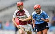 10 September 2017; Sheila McGrath of Westmeath in action against Ciara Buchanan of Dublin during the Liberty Insurance All-Ireland Premier Junior Camogie Championship Final match between Dublin and Westmeath at Croke Park in Dublin. Photo by Piaras Ó Mídheach/Sportsfile