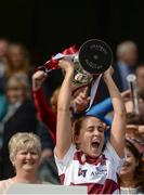 10 September 2017; Westmeath captain Fiona Leavy lifts The Kathleen Mills Cup after the Liberty Insurance All-Ireland Premier Junior Camogie Championship Final match between Dublin and Westmeath at Croke Park in Dublin. Photo by Piaras Ó Mídheach/Sportsfile