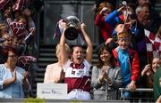 10 September 2017; Fiona Leavy captain of Westmeath lifts the cup after the Liberty Insurance All-Ireland Premier Junior Camogie Championship Final match between Dublin and Westmeath at Croke Park in Dublin. Photo by Matt Browne/Sportsfile