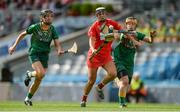 10 September 2017; Katelyn Hickey of Cork in action against Áine Keogh, left, and Claire Coffey of Meath during the Liberty Insurance All-Ireland Intermediate Camogie Championship Final match between Cork and Meath at Croke Park in Dublin. Photo by Piaras Ó Mídheach/Sportsfile