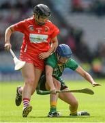 10 September 2017; Keeva McCarthy of Cork in action against Aoife Maguire of Meath during the Liberty Insurance All-Ireland Intermediate Camogie Championship Final match between Cork and Meath at Croke Park in Dublin. Photo by Piaras Ó Mídheach/Sportsfile