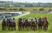 10 September 2017; Ice Age, far right, with Charlie Bishop up, on their way to winning the Irish Stallion Farms EBF 'Bold Lad' Sprint Handicap during the Longines Irish Champions Weekend 2017 at The Curragh Racecourse in Co Kildare. Photo by Cody Glenn/Sportsfile