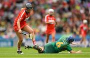 10 September 2017; Keeva McCarthy of Cork gets past Aoife Maguire of Meath during the Liberty Insurance All-Ireland Intermediate Camogie Championship Final match between Cork and Meath at Croke Park in Dublin. Photo by Piaras Ó Mídheach/Sportsfile