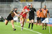 10 September 2017; Ashling Thompson of Cork in action against Julie Ann Malone of Kilkenny during the Liberty Insurance All-Ireland Senior Camogie Final match between Cork and Kilkenny at Croke Park in Dublin. Photo by Matt Browne/Sportsfile